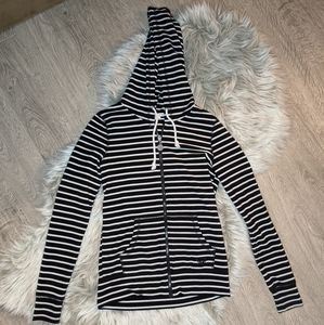 Roxy black and white striped hoodie